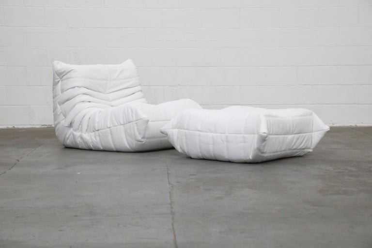 Togo Sectional Five-Piece Set by Michel Ducaroy for Ligne Roset in White Leather For Sale 1