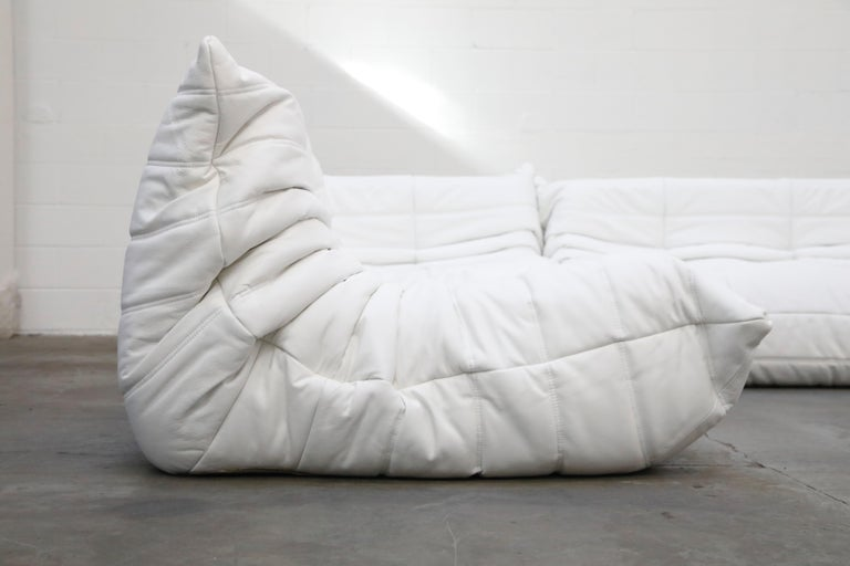Togo Sectional Five-Piece Set by Michel Ducaroy for Ligne Roset in White Leather For Sale 3