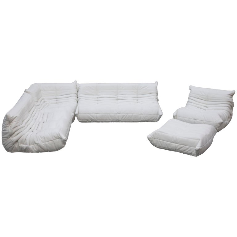 Togo Sectional Five-Piece Set by Michel Ducaroy for Ligne Roset in White Leather For Sale