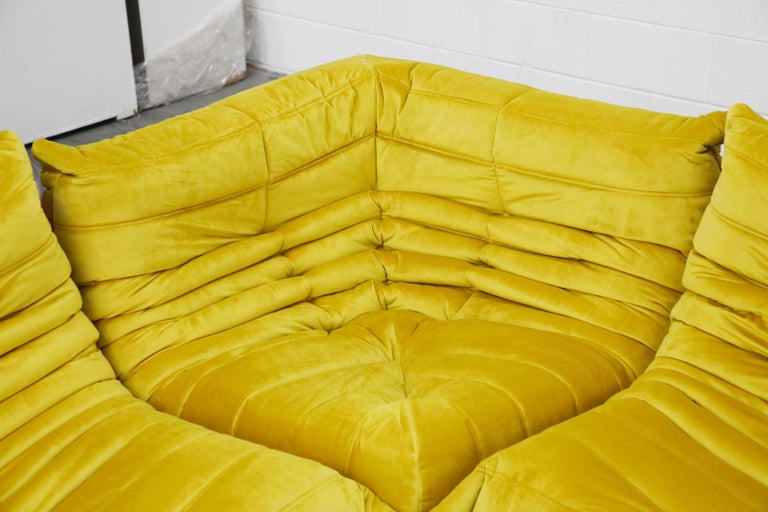 Togo Sectional Three-Piece Set by Michel Ducaroy for Ligne Roset in Gold Velvet For Sale 4