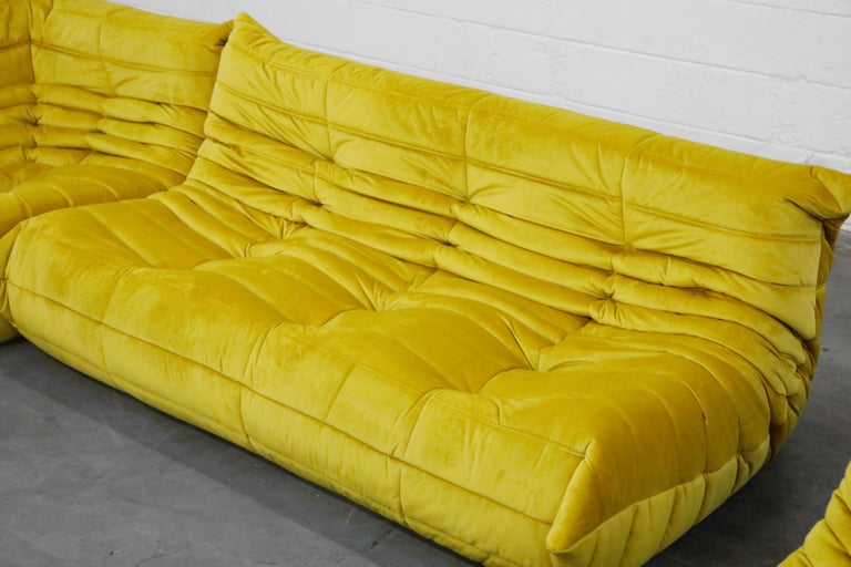Togo Sectional Three-Piece Set by Michel Ducaroy for Ligne Roset in Gold Velvet For Sale 5