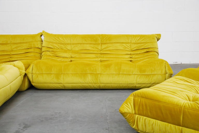 Togo Sectional Three-Piece Set by Michel Ducaroy for Ligne Roset in Gold Velvet For Sale 6