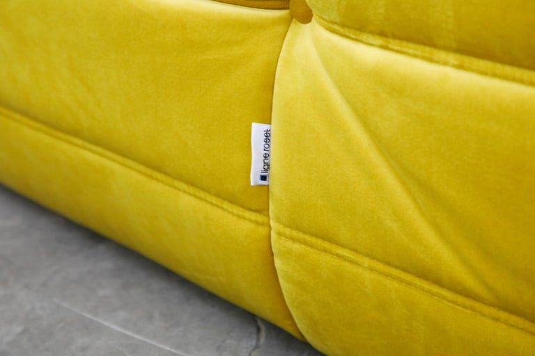 Togo Sectional Three-Piece Set by Michel Ducaroy for Ligne Roset in Gold Velvet For Sale 13
