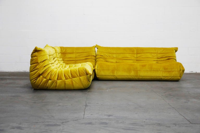 Modern Togo Sectional Three-Piece Set by Michel Ducaroy for Ligne Roset in Gold Velvet For Sale