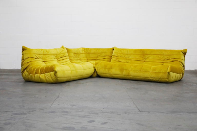 French Togo Sectional Three-Piece Set by Michel Ducaroy for Ligne Roset in Gold Velvet For Sale