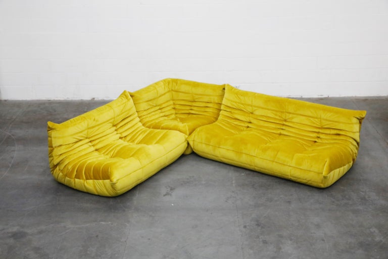 Togo Sectional Three-Piece Set by Michel Ducaroy for Ligne Roset in Gold Velvet In Excellent Condition For Sale In Los Angeles, CA