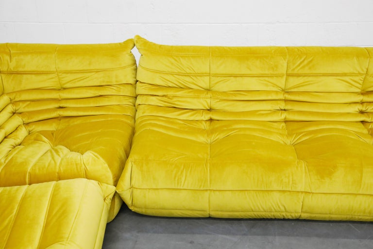 Togo Sectional Three-Piece Set by Michel Ducaroy for Ligne Roset in Gold Velvet For Sale 2