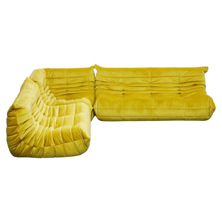 Togo Sectional Three-Piece Set by Michel Ducaroy for Ligne Roset in Gold Velvet For Sale