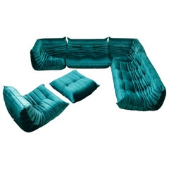 'Togo' Six-Piece Set by Michel Ducaroy for Ligne Roset in Emerald Green Velvet