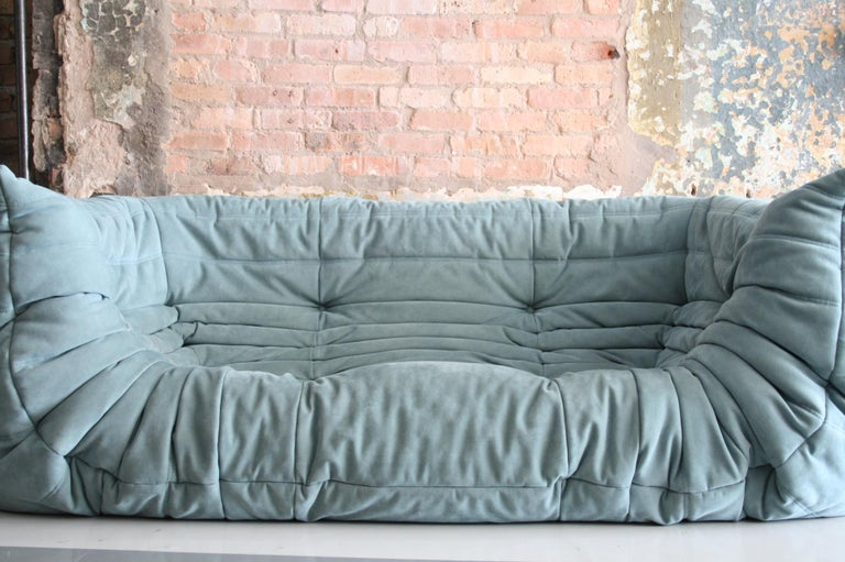 Mid-Century Modern Togo Sofa in Baby Blue Leather by Michel Ducaroy for Ligne Roset For Sale