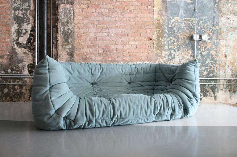 French Togo Sofa in Baby Blue Leather by Michel Ducaroy for Ligne Roset For Sale