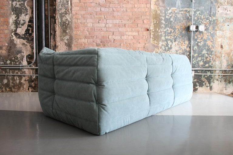 Contemporary Togo Sofa in Baby Blue Leather by Michel Ducaroy for Ligne Roset For Sale