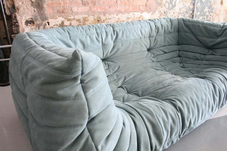 Togo Sofa in Baby Blue Leather by Michel Ducaroy for Ligne Roset For Sale 1