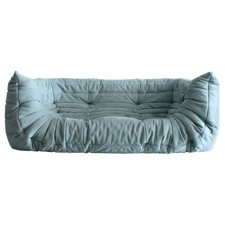 Togo Sofa in Baby Blue Leather by Michel Ducaroy for Ligne Roset For Sale