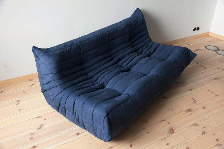 Togo Sofa Set by Michel Ducaroy for Ligne Roset, in Dark Blue Microfibre For Sale 3