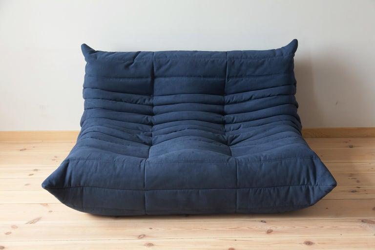 Togo Sofa Set by Michel Ducaroy for Ligne Roset, in Dark Blue Microfibre For Sale 6