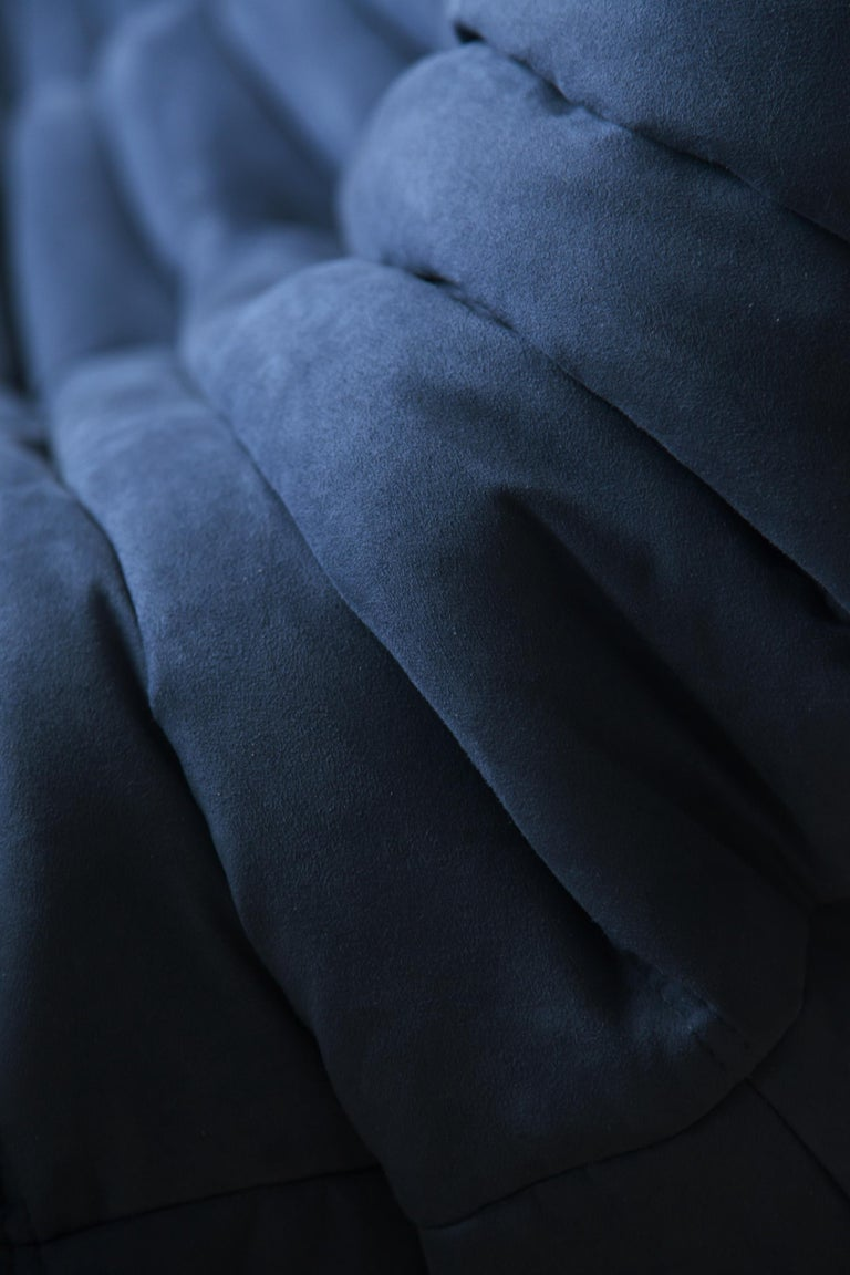 Togo Sofa Set by Michel Ducaroy for Ligne Roset, in Dark Blue Microfibre For Sale 8