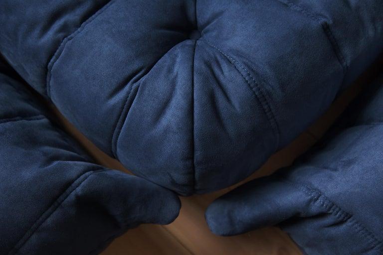 Mid-Century Modern Togo Sofa Set by Michel Ducaroy for Ligne Roset, in Dark Blue Microfibre For Sale