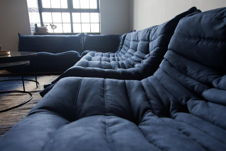 French Togo Sofa Set by Michel Ducaroy for Ligne Roset, in Dark Blue Microfibre For Sale