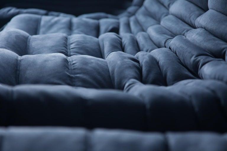 Togo Sofa Set by Michel Ducaroy for Ligne Roset, in Dark Blue Microfibre In Excellent Condition For Sale In Berlin, DE