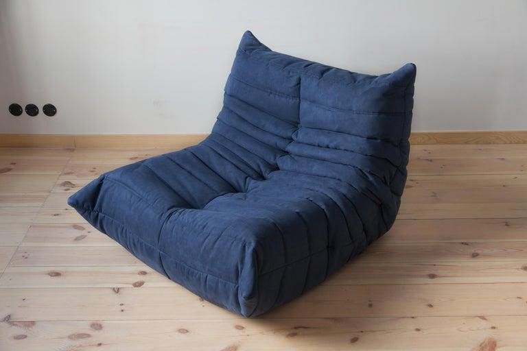 Fabric Togo Sofa Set by Michel Ducaroy for Ligne Roset, in Dark Blue Microfibre For Sale