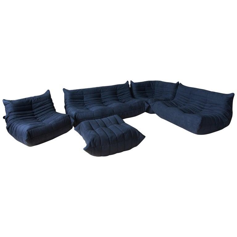 Togo Sofa Set by Michel Ducaroy for Ligne Roset, in Dark Blue Microfibre For Sale