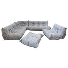 Togo Sofa Set by Michel Ducaroy for Ligne Roset, in Light Grey Microfibre