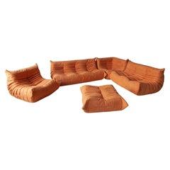 Togo Sofa Set by Michel Ducaroy for Ligne Roset, in Orange Microfibre