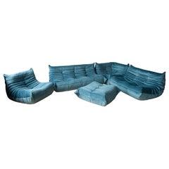 Togo Sofa Set by Michel Ducaroy for Ligne Roset, in Sea Blue Velvet