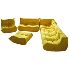 Togo Sofa Set by Michel Ducaroy for Ligne Roset, in Yellow Microfibre