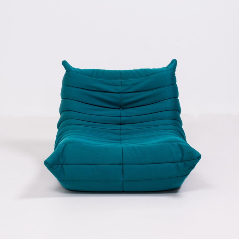 Togo Teal Armchair and Footstool by Michel Ducaroy for Ligne Roset, Set of 2 In Good Condition For Sale In London, GB