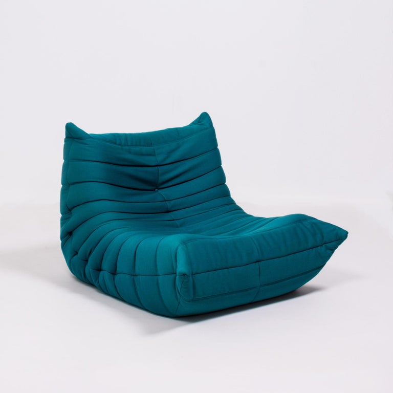 Late 20th Century Togo Teal Armchair and Footstool by Michel Ducaroy for Ligne Roset, Set of 2 For Sale