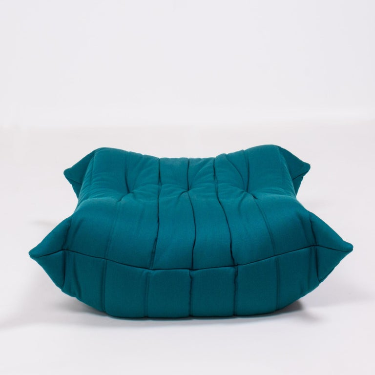 Togo Teal Armchair and Footstool by Michel Ducaroy for Ligne Roset, Set of 2 For Sale 3