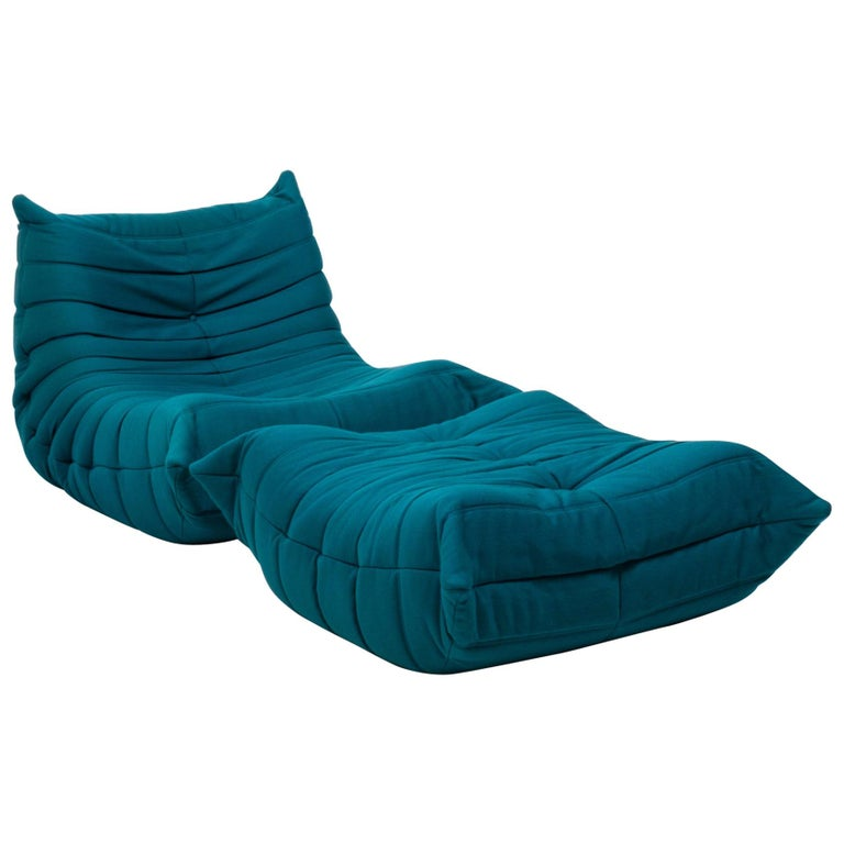 Togo Teal Armchair and Footstool by Michel Ducaroy for Ligne Roset, Set of 2 For Sale