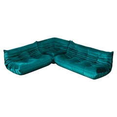 'Togo' Three-Piece Set by Michel Ducaroy for Ligne Roset in Emerald Green Velvet
