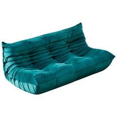 'Togo' Three-Seat Sofa by Michel Ducaroy for Ligne Roset in Emerald Green Velvet