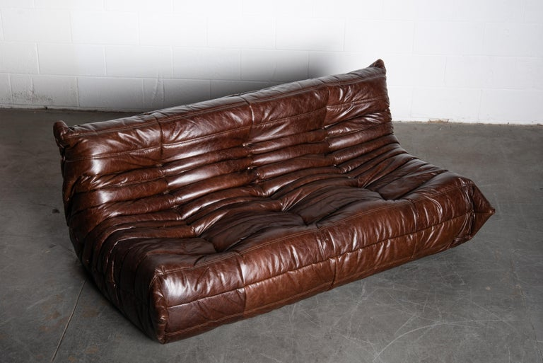 Leather 'Togo' Three Seat Sofa Set by Michel Ducaroy for Ligne Roset, Signed