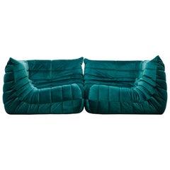 'Togo' Two-Piece Sofa by Michel Ducaroy for Ligne Roset in Emerald Green Velvet