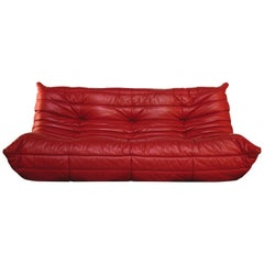 Togo Vintage Sofa, Red, by Michel Ducaroy for Ligne Roset, 1970s