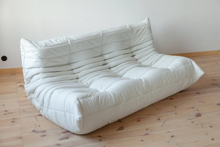 Togo White Leather Sofa Set by Michel Ducaroy for Ligne Roset For Sale 4