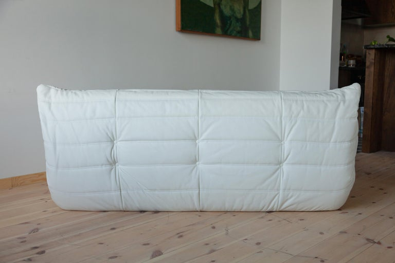 Togo White Leather Sofa Set by Michel Ducaroy for Ligne Roset For Sale 6