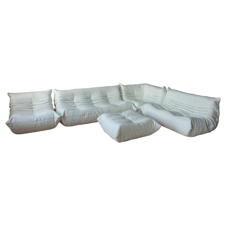 Togo White Leather Sofa Set by Michel Ducaroy for Ligne Roset For Sale