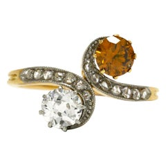 Toi Et Moi Antique Engagement Ring Fancy Colored Diamond 2-Stone Edwardian