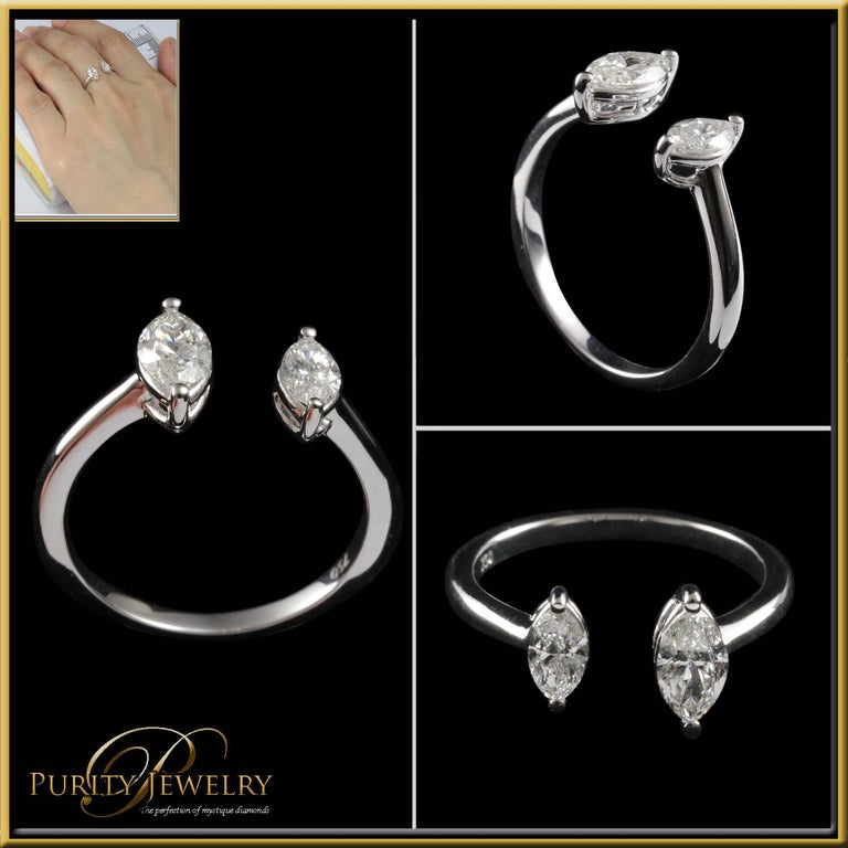 Marquise Cut Toi et Moi Diamond Fashion Ring in 18 Karat Gold For Sale