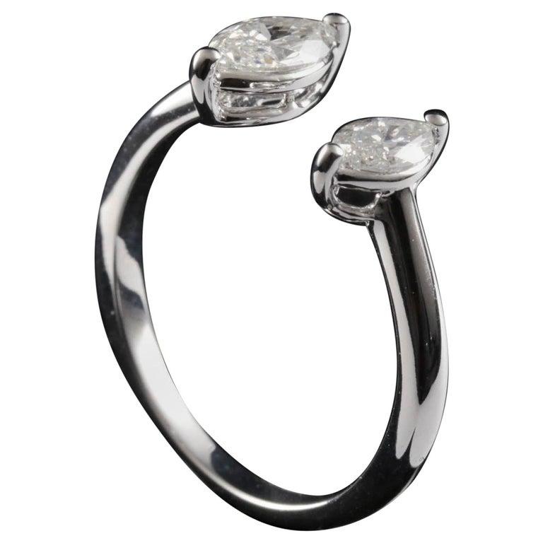 Toi et Moi Diamond Fashion Ring in 18 Karat Gold For Sale