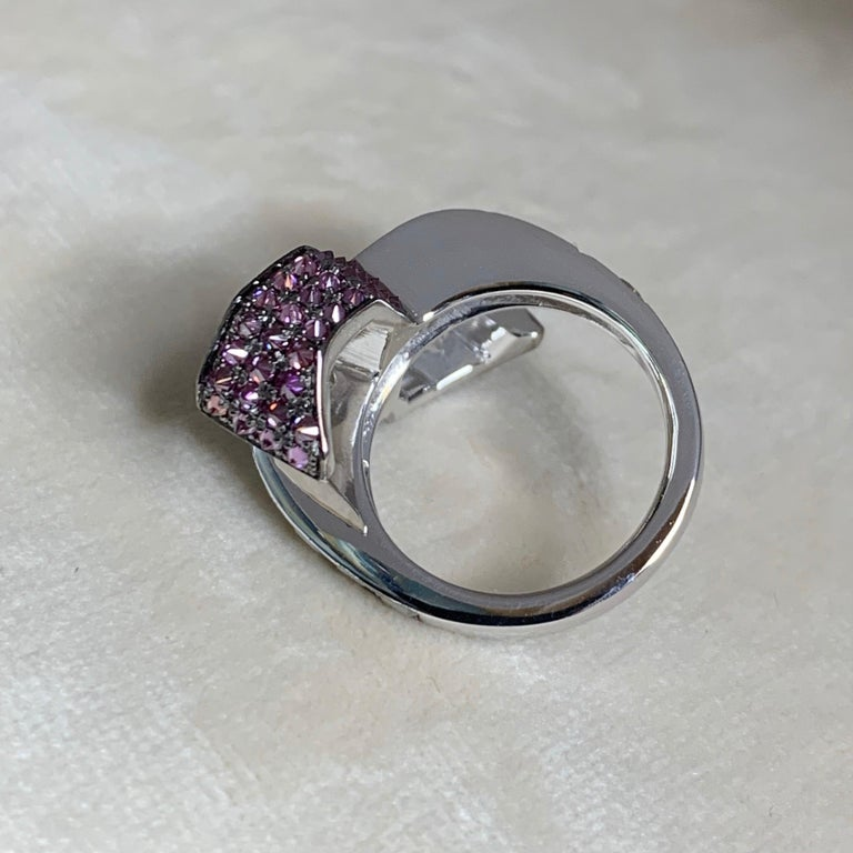 Women's Toi et Moi Icy White Blue Purple Diamond Cocktail Ring For Sale