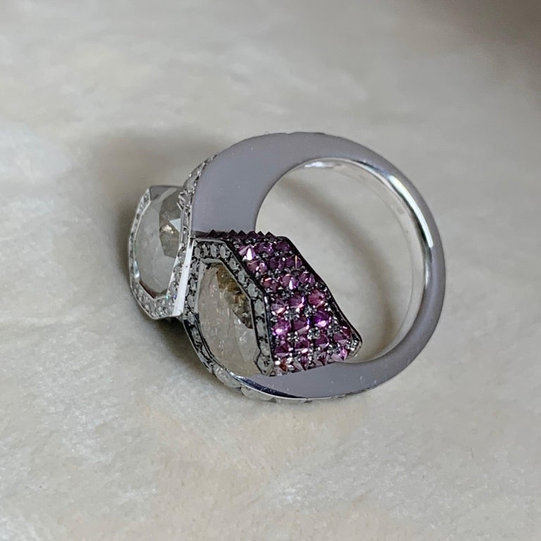 Toi et Moi Icy White Blue Purple Diamond Cocktail Ring For Sale 1