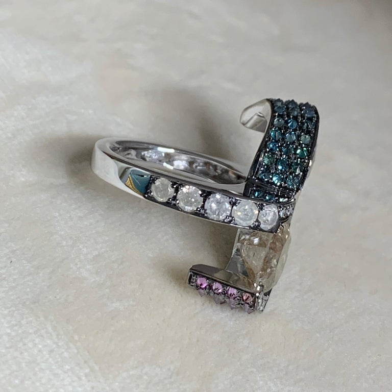 Toi et Moi Icy White Blue Purple Diamond Cocktail Ring For Sale 3