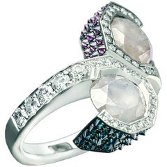 Toi et Moi Icy White Blue Purple Diamond Cocktail Ring