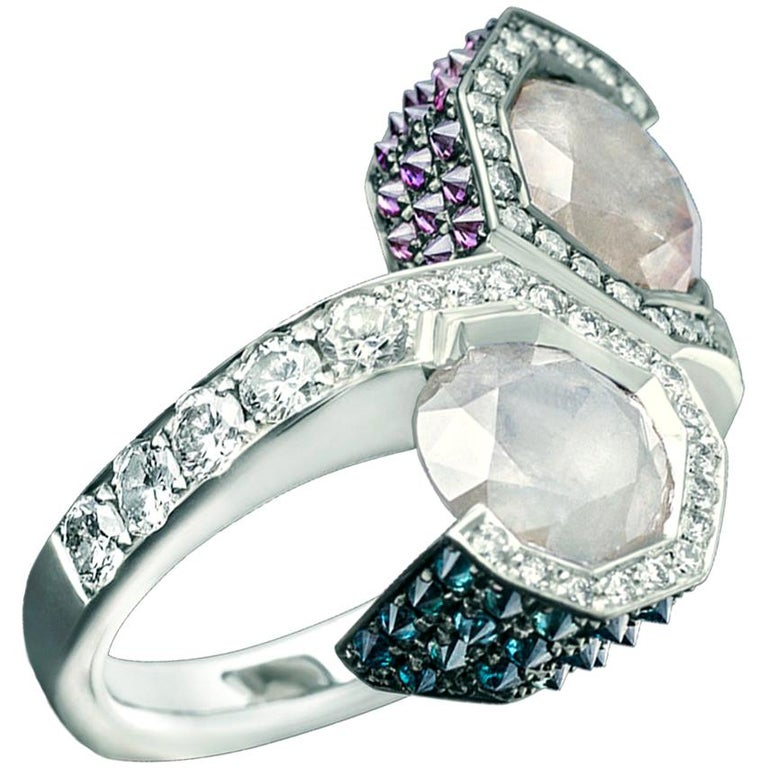 Toi et Moi Icy White Blue Purple Diamond Cocktail Ring For Sale